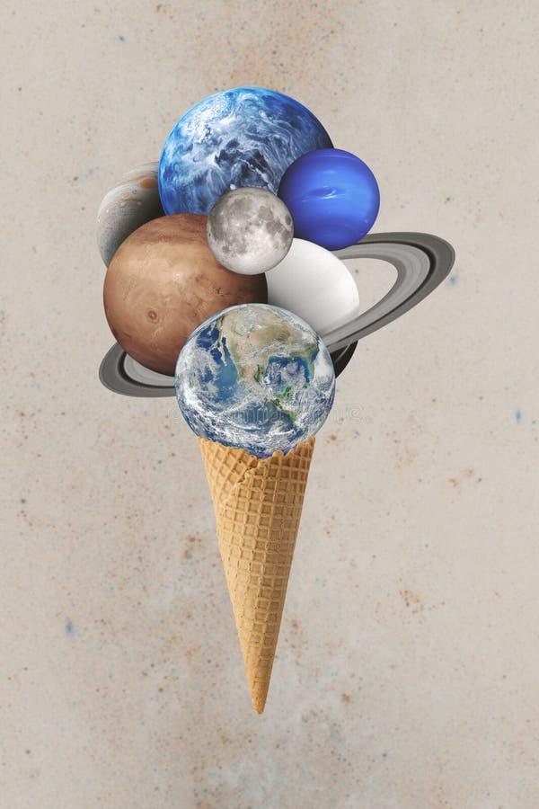 Différentes planètes sur le cône de gaufre Éléments de cette image meublés par la NASA photographie stock