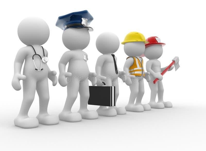 Différentes professions illustration de vecteur