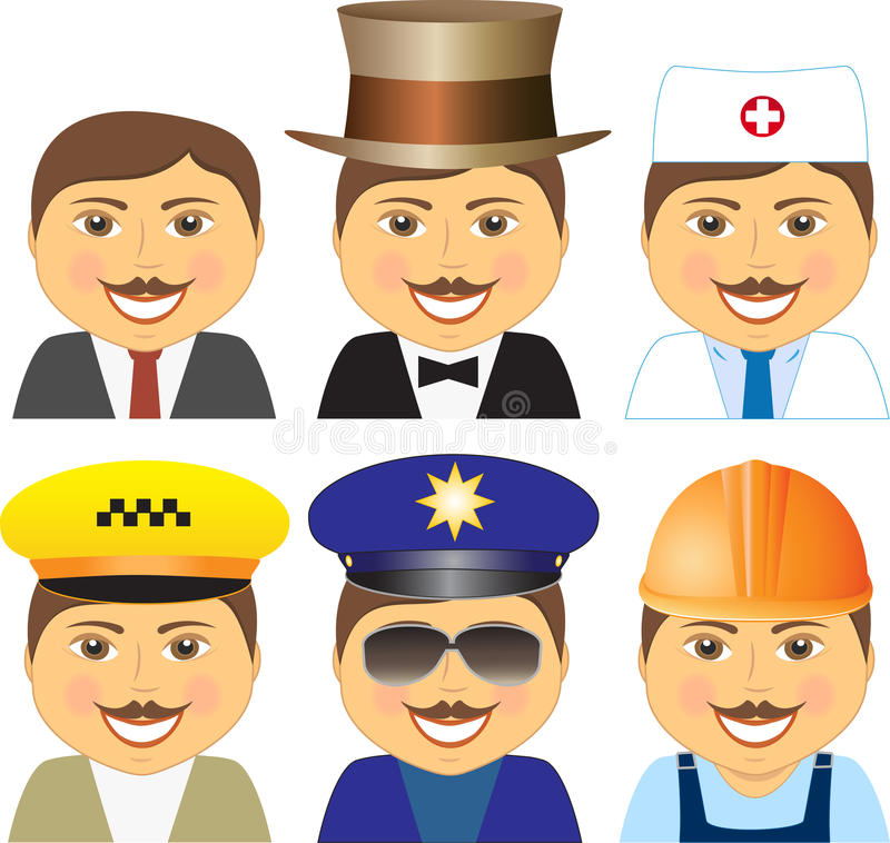 Différentes professions de sourire réglées de mens illustration stock
