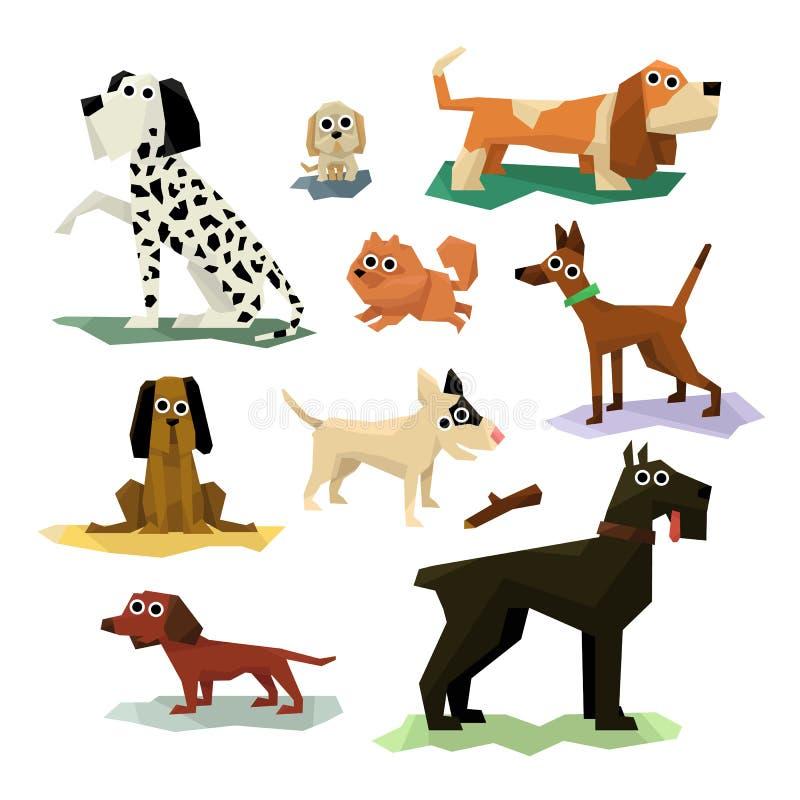 Différentes races de chien réglées illustration de vecteur