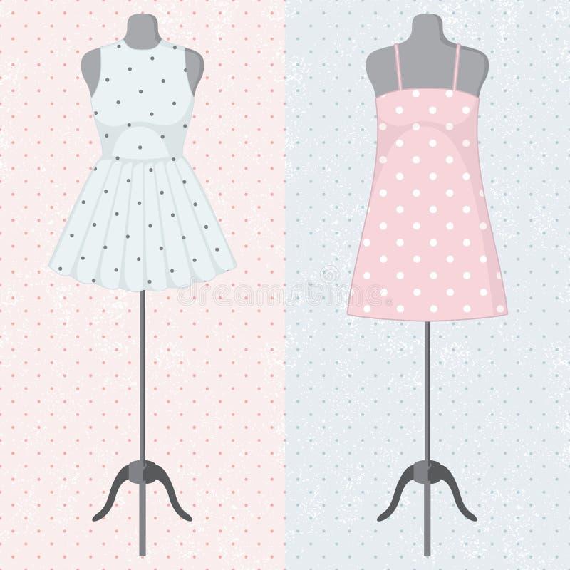 Différentes robes de vintage sur un mannequin. Vecteur illustration libre de droits