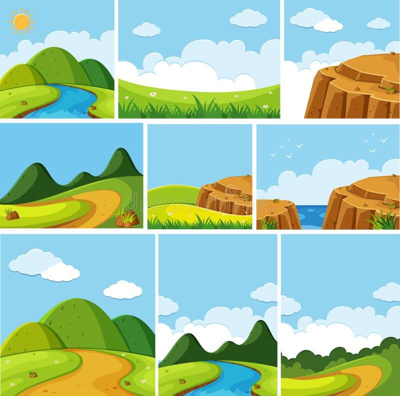 Différentes scènes de nature illustration libre de droits