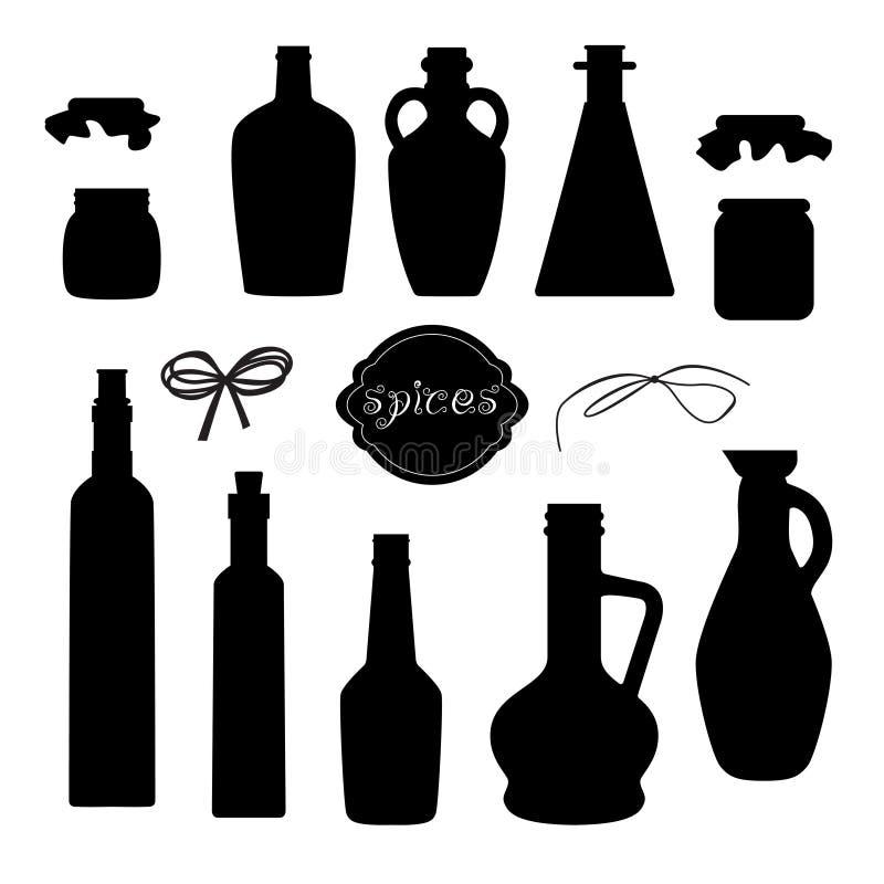 Différentes silhouettes de pot pour l'huile épicée avec des rubans illustration libre de droits