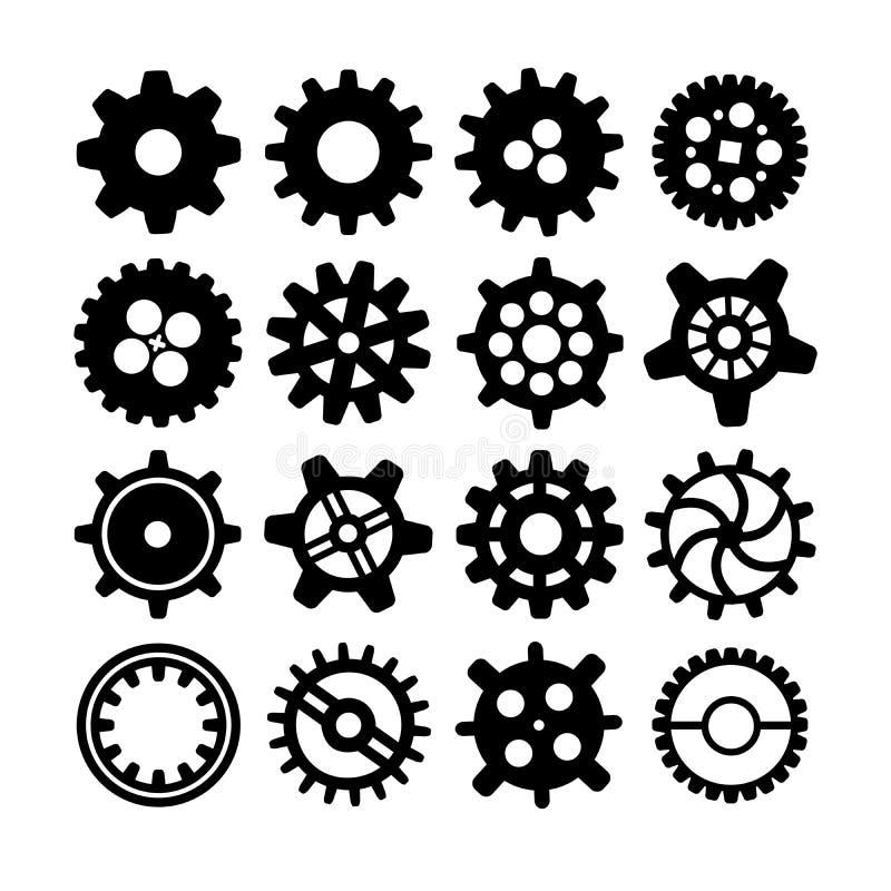 Différentes silhouettes noires des roues dentées sur le blanc illustration libre de droits