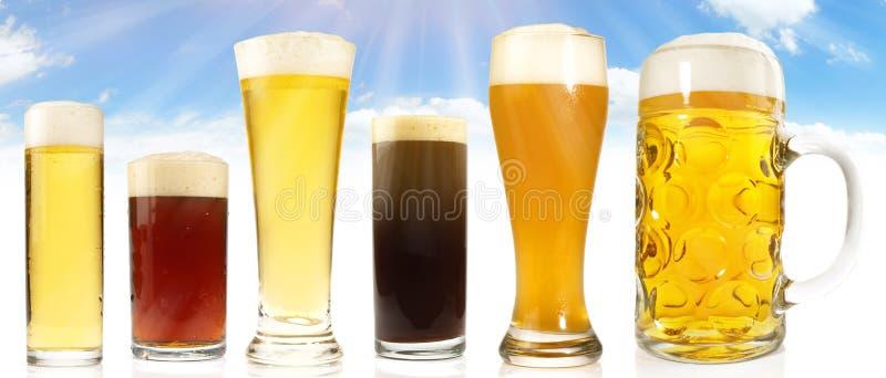 Différentes sortes de bière sur le ciel et le fond de Sun photographie stock libre de droits