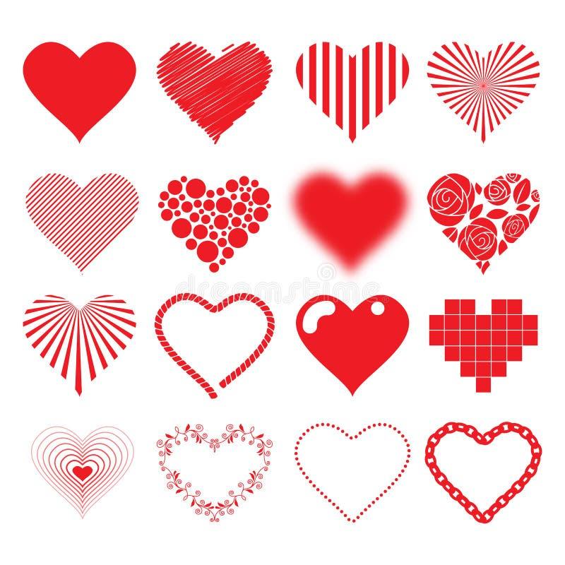 Différentes valentines de passion d'amour réglées de coeurs par icônes illustration de vecteur