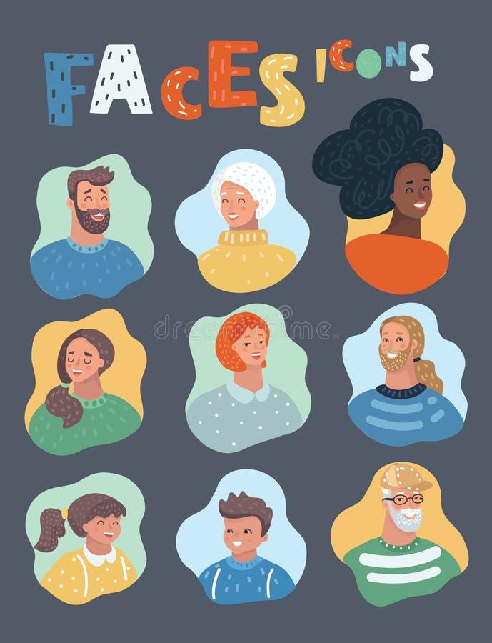 Différents âges de personnes positives, nationalités illustration libre de droits