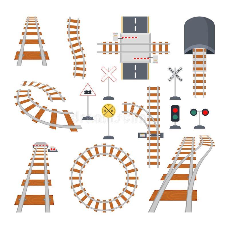 Différents éléments structurels de chemin de fer Collection de vecteur dans le style de bande dessinée illustration stock