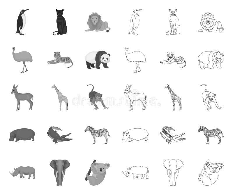 Différents animaux mono, icônes d'ensemble dans la collection réglée pour la conception L'oiseau, le pr?dateur et l'herbivore dir illustration stock