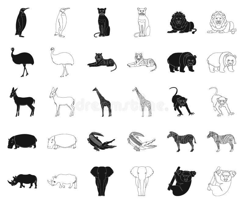Différents animaux noirs, icônes d'ensemble dans la collection réglée pour la conception L'oiseau, le prédateur et l'herbivore di illustration libre de droits