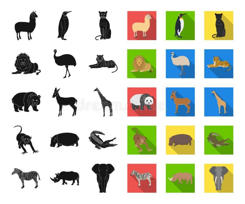 Différents animaux noirs, icônes plates dans la collection réglée pour la conception L'oiseau, le prédateur et l'herbivore dirige illustration de vecteur