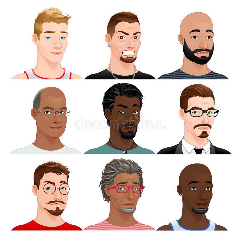 Différents avatars masculins illustration libre de droits