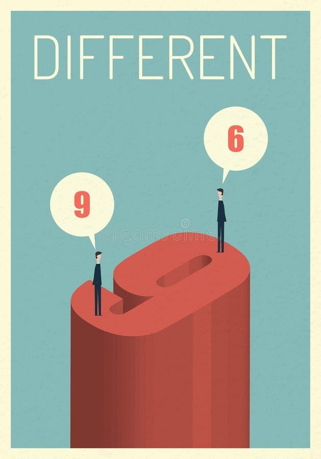 Différents avis 6 et 9 illustration, croissance de symbole, économie, investissement, technologie, direction, force réussie illustration libre de droits