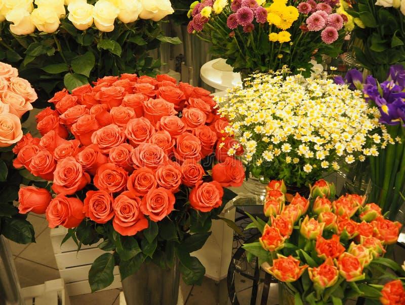 Différents bouquets de belles fleurs en serre chaude photos libres de droits