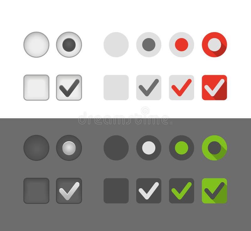 Différents boutons de graphique de sélection illustration de vecteur