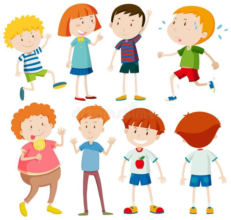 Différents caractères des garçons et des filles illustration libre de droits