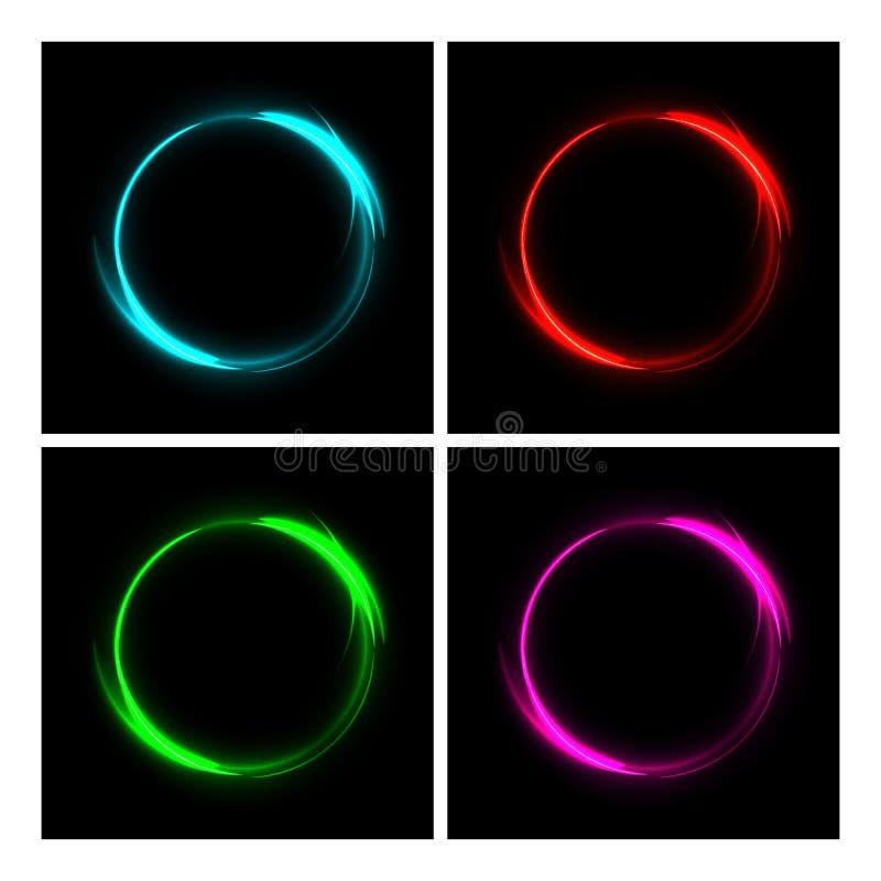 Différents cercles du feu de couleur sur le fond noir Ensemble rougeoyant de trace d'anneau du feu Dirigez le feu bleu, rouge, ve illustration libre de droits