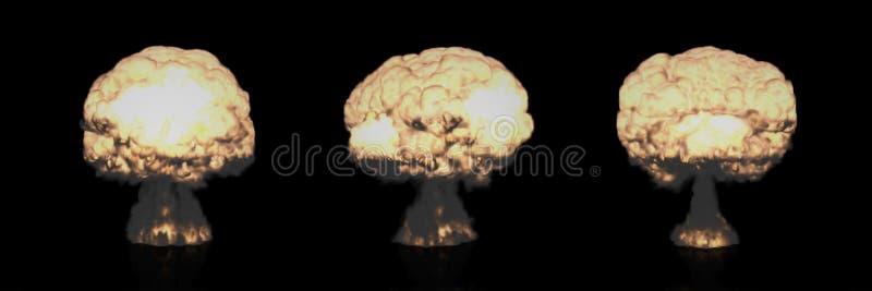 Différents champignons atomiques d'explosion nucléaire illustration stock