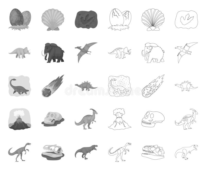 Différents dinosaures mono, icônes d'ensemble dans la collection réglée pour la conception Web animal pr?historique d'actions de  illustration de vecteur