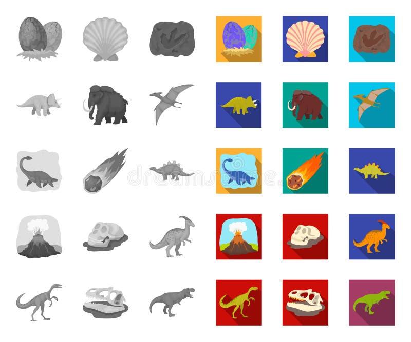 Différents dinosaures mono, icônes plates dans la collection réglée pour la conception Web animal pr?historique d'actions de symb illustration libre de droits