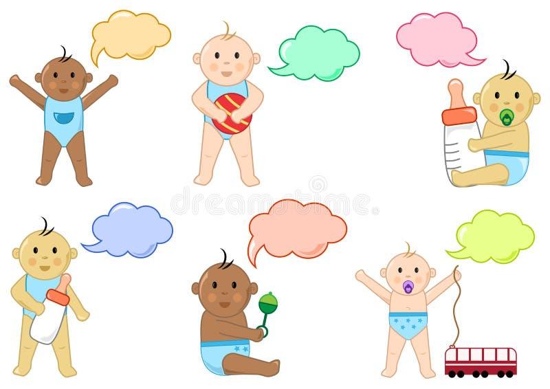 Différents enfants avec les jouets et la zone de dialogue, illustration illustration libre de droits
