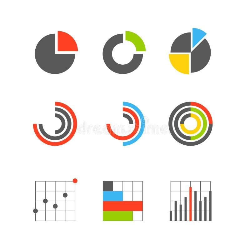 Différents estimations et diagrammes graphiques d'affaires illustration libre de droits
