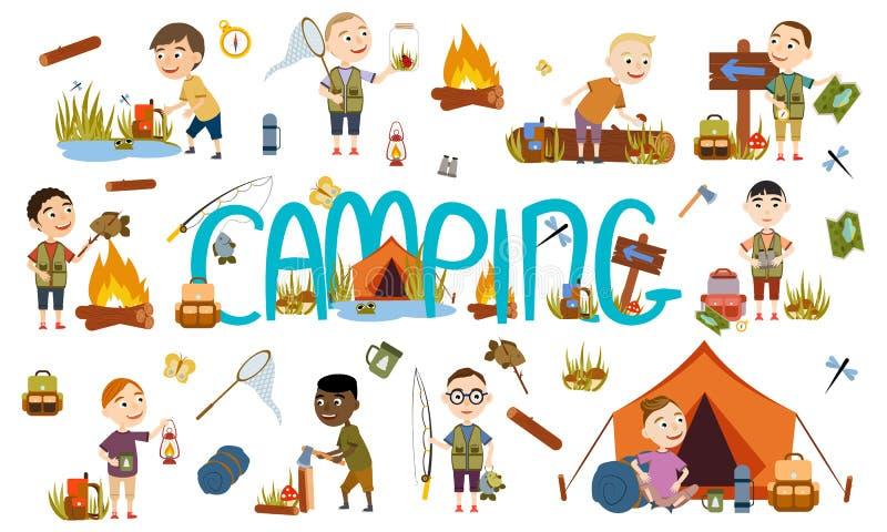 Différents garçons réglés de touristes sur la nature camper Pêche, champignon sélectionnant, du jour au lendemain dans une tente, illustration libre de droits