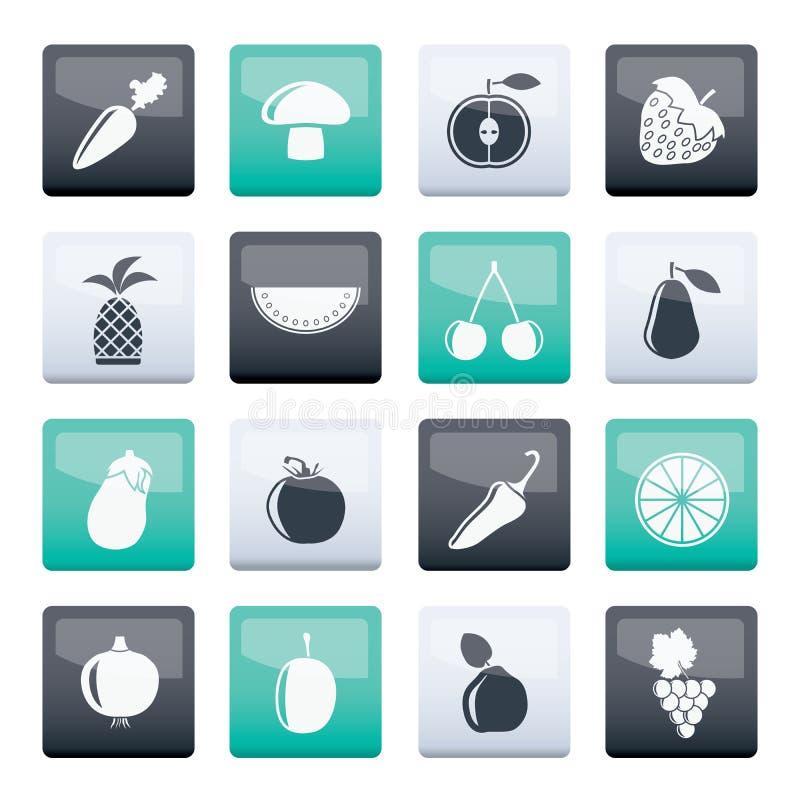 Différents genres d'icônes de fruits et légumes au-dessus de fond de couleur illustration stock