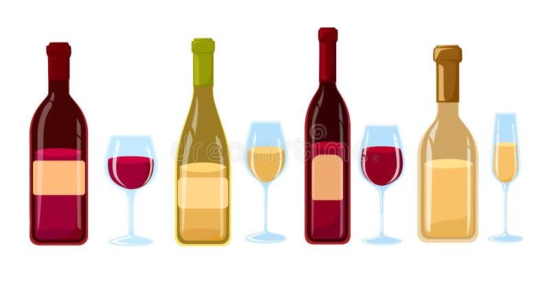 Différents genres de bouteilles de vin sans illustration plate de conception de labels des bouteilles et des verres de vin avec d illustration stock
