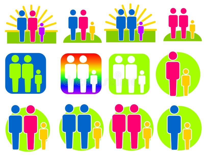 Différents genres de clipart (images graphiques) de familles illustration libre de droits