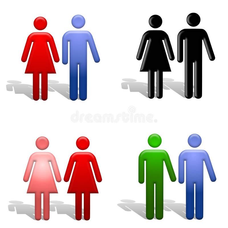 Différents genres de couples illustration stock