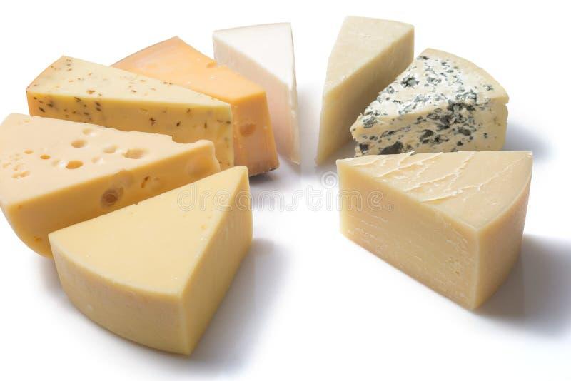 Différents genres de fromages d'isolement sur le fond blanc photographie stock libre de droits