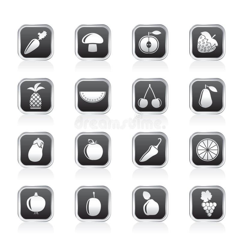 Différents genres de graphismes de fruits et légumes illustration de vecteur