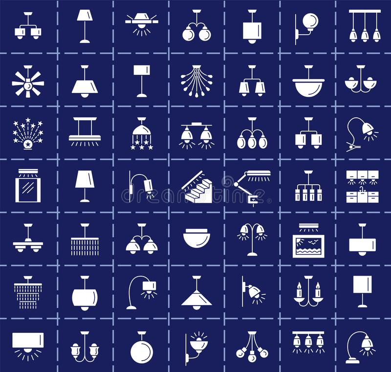 Différents genres de mur, de plafond, de table et de lampadaires moderne illustration libre de droits