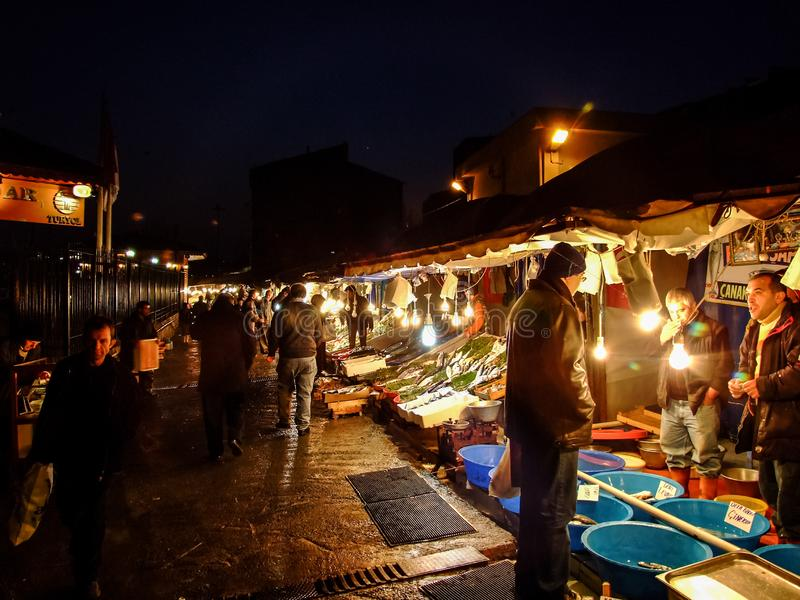 Différents genres de poisson frais en vente à une poissonnerie à Istanbul, Turquie photos stock