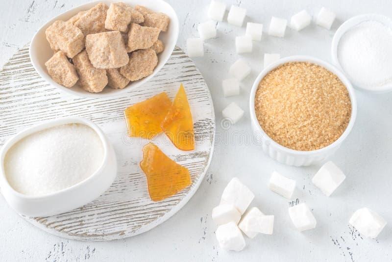 Différents genres de sucre photographie stock
