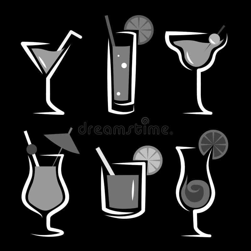 Différents genres de verres avec des apéritifs illustration de vecteur