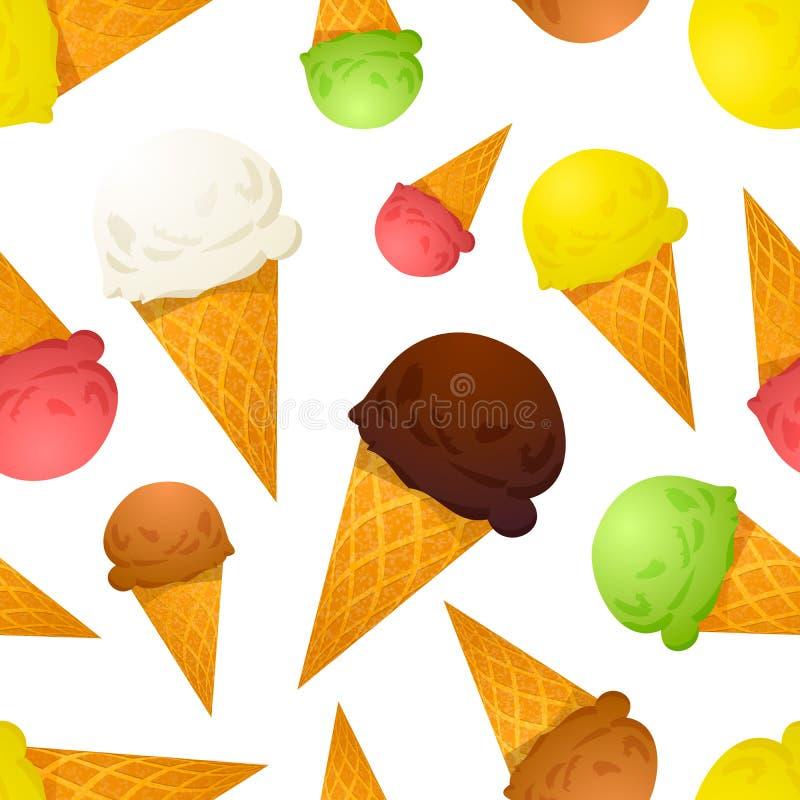 Différents goûts de cornets de crème glacée colorés lumineux, modèle sans couture illustration stock