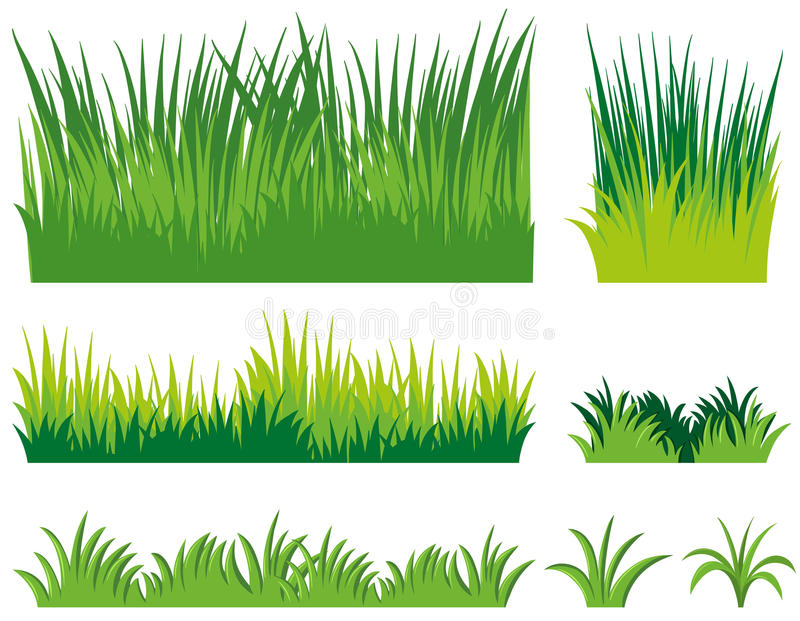 Différents griffonnages d'herbe illustration stock