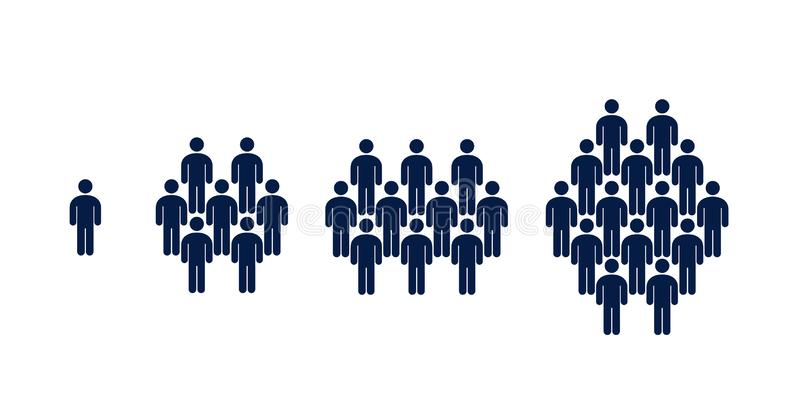 Différents groupes de personnes, foule, infographics illustration de vecteur