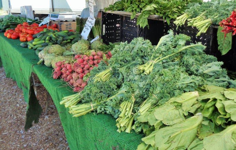 Différents légumes sur l'affichage au marché d'un agriculteur photos stock