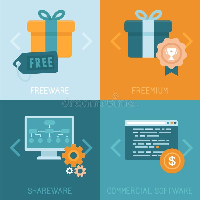 Différents modèles économiques de vecteur des apps de distribution illustration libre de droits