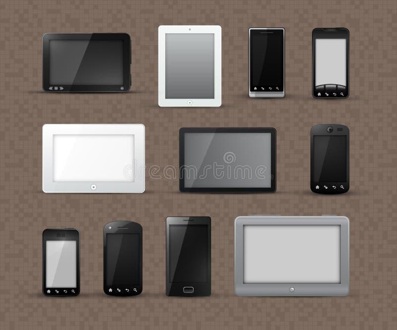 Différents modèles des tablettes et des téléphones intelligents illustration de vecteur