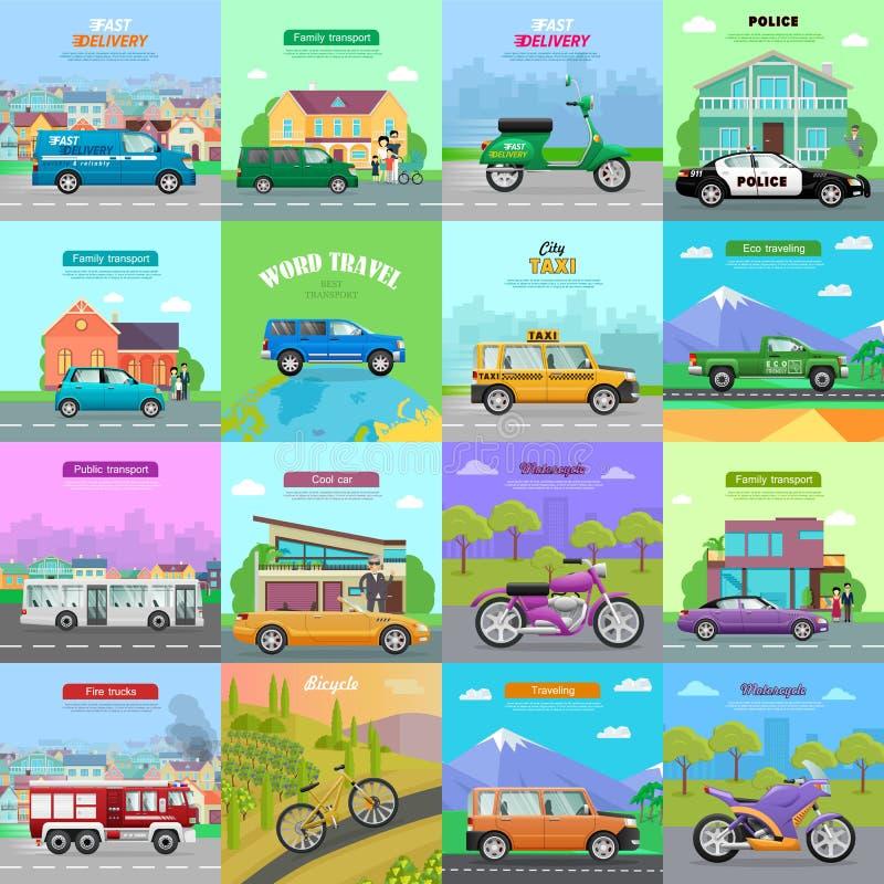 Différents moyens de transport Graphismes automatiques illustration libre de droits