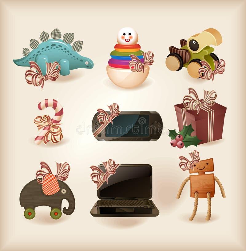 Différents objets de présents de Noël illustration stock