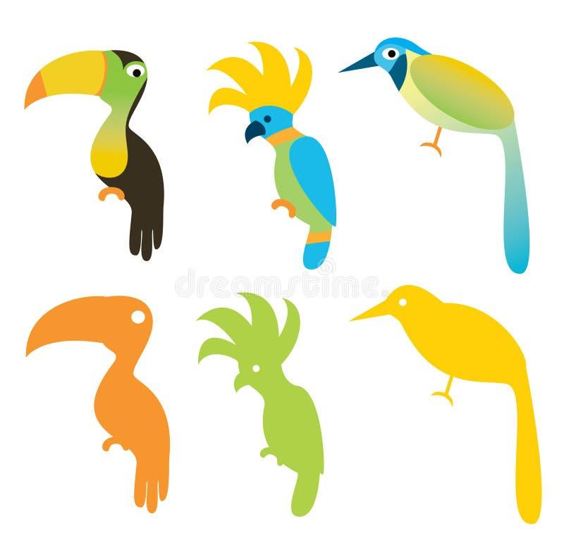 Différents oiseaux illustration de vecteur