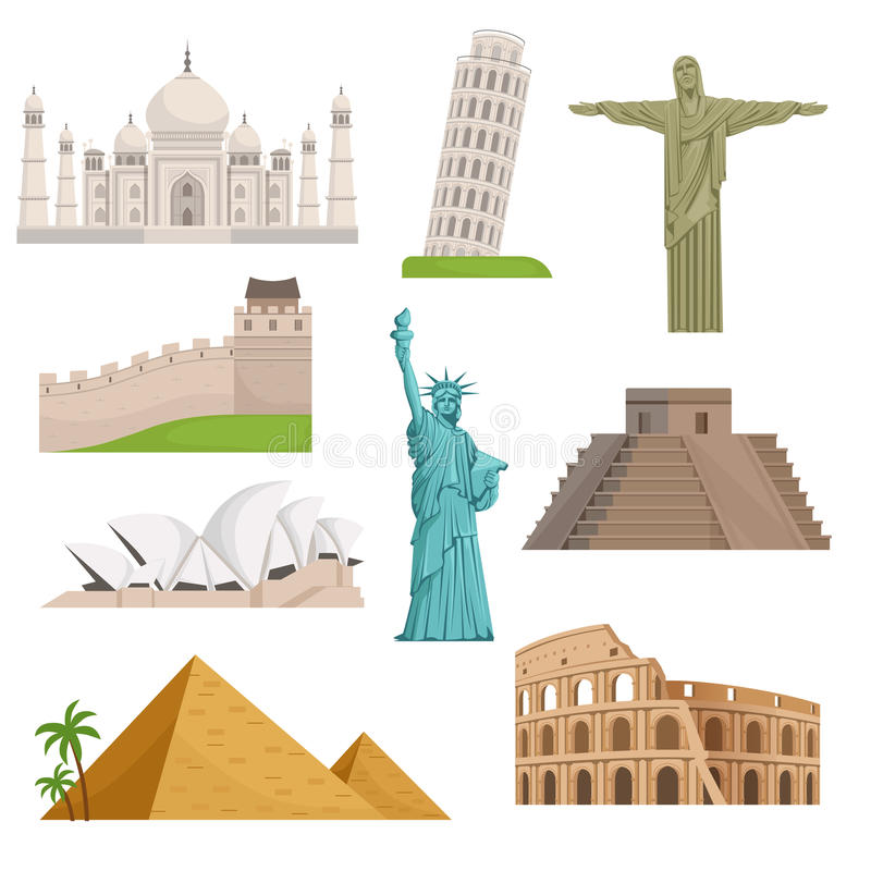 Différents points de repère célèbres historiques Endroits du monde vecteur prêt d'image d'illustrations de téléchargement illustration stock