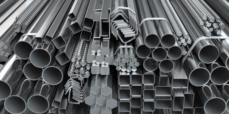 Différents produits laminés en métal profilés et tubes en acier inoxydable en arrière-plan de l'entrepôt illustration de vecteur