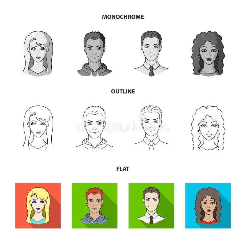 Différents regards des jeunes Icônes réglées de collection d'avatar et de visage dans l'appartement, contour, symbole monochrome  illustration stock