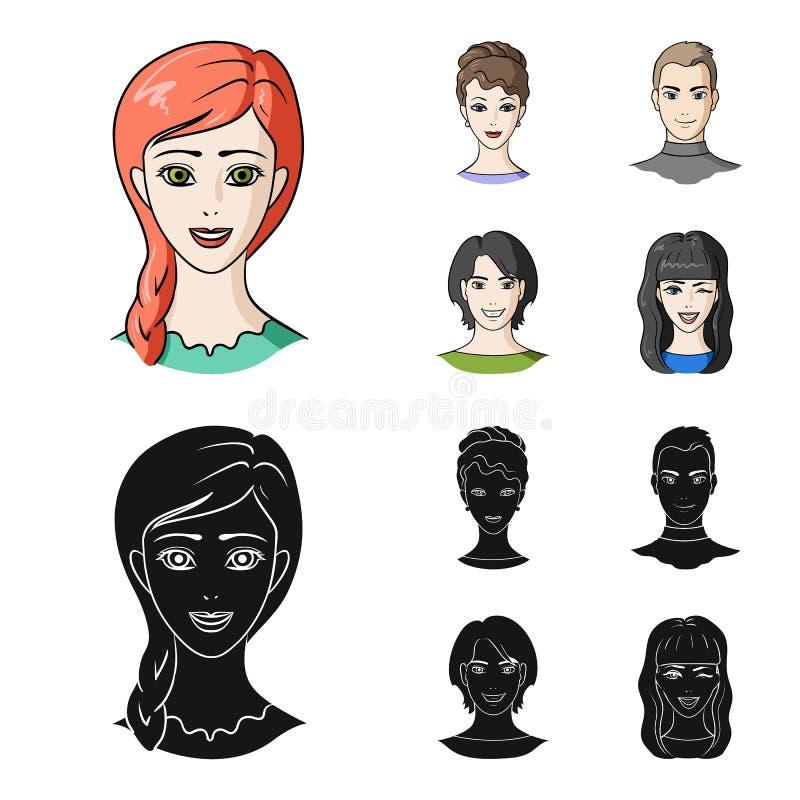Différents regards des jeunes Icônes réglées de collection d'avatar et de visage dans la bande dessinée, actions noires de symbol illustration de vecteur